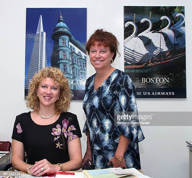 Staff photo by Gregory Rec Friday September 5 2003 Jane Chipman Noonan sitting and Carol Matthews of Quest Travel in Windham