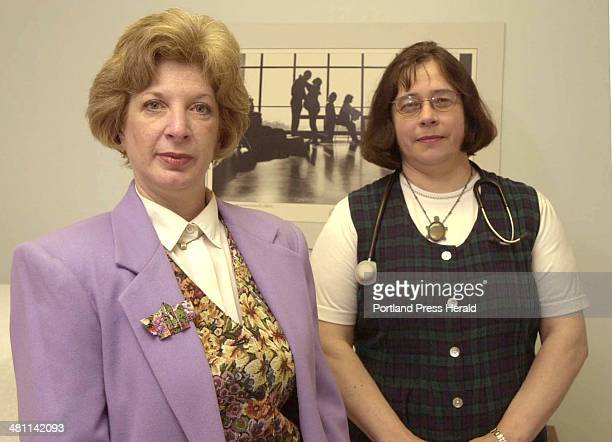 Staff Photo by Herb Swanson Thu May 17 2001 Nancy Green and Anne Perry helped organize Neighbors Against Drug Abuse in Calais on Tuesday