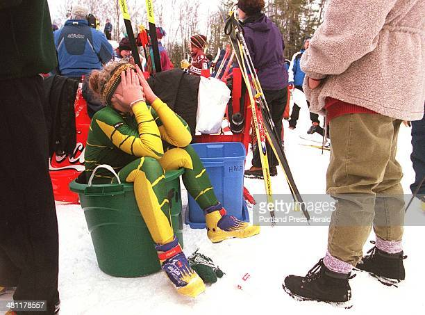 Staff Photo by Herb Swanson Wed Jan 03 2001Jackie Masse a member of the Fort Kent High School ski team reacts after competing in a nordic race at the...