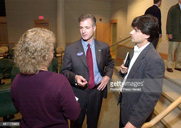 Staff Photo by Jack Milton Monday October 7 2002 Peter Cianchette republican candidate for governor speaks to Heather Hall of Windham and her husband...