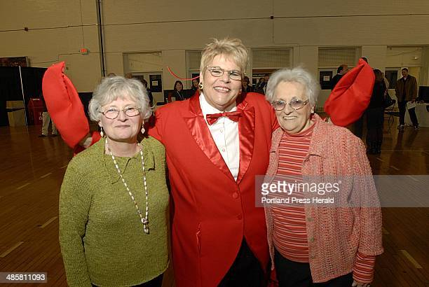 Staff Photo by Jack Milton ''The Lobster Lady'' aka Pam Barker of South Portland center poses with Jeanne McGurn left and Pam's mother Frances Deady...