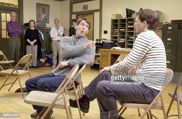 Staff Photo by Jack Milton Thursday February 3 2005 Tim Bate as Alfie Byrne and Graham Allen as Robbie Fay rehearse a scene from A Man of No...