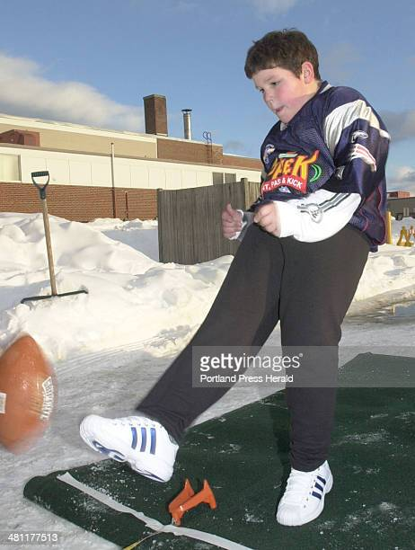 Staff Photo by Jack Milton, Thursday, January 9, 2003: Andrew Lavallee of Cape Elizabeth, will represent the Patriots in the national Punt, Pass and...