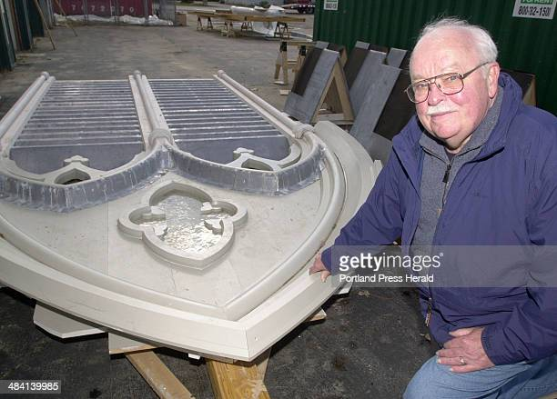 Staff photo by Jill Brady: Homer Kenison, Brunswick First Parish Church business manager, shows one of the louver panels that has been refurbished...