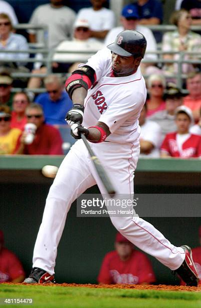 Staff Photo by John Ewing Monday March 24 2003 Red Sox first baseman David Ortiz hits during an exhibition game against the Phillies in Fort Myers...
