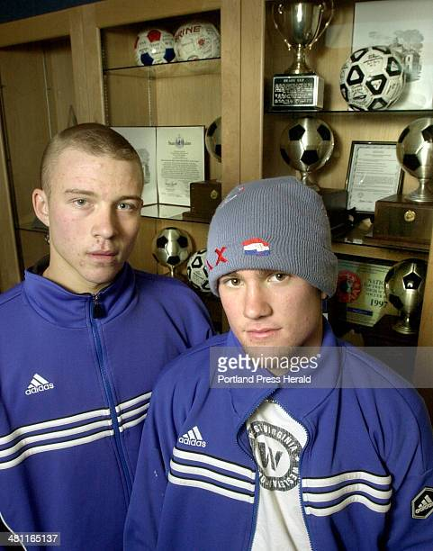 Staff Photo by John Ewing Thursday November 7 2002 Falmouth's Pat Halligan and Jimmy Velas will play big roles for their team in this weekends state...