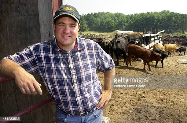 Staff Photo by John Ewing, Tue, Aug 13, 2002: Erick Jensen, manager of the Wolfe's Neck Farm in Freeport. The farm will soon be selling it's natural...