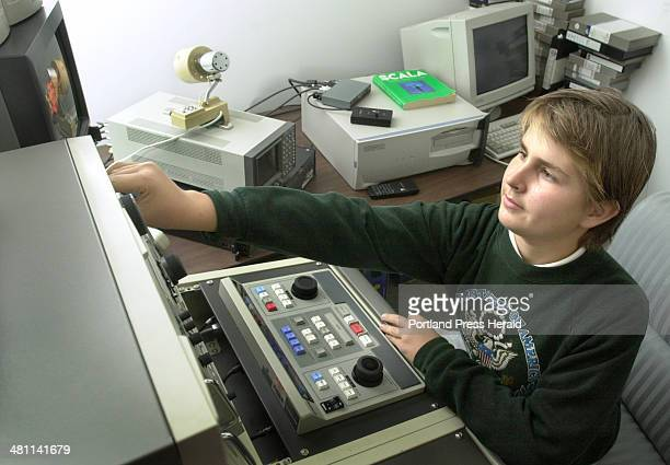 Staff Photo by John Ewing Tuesday September 25 2001 Mark Shapp works at a video editing console at the Portland Community TV station on Oak Street in...