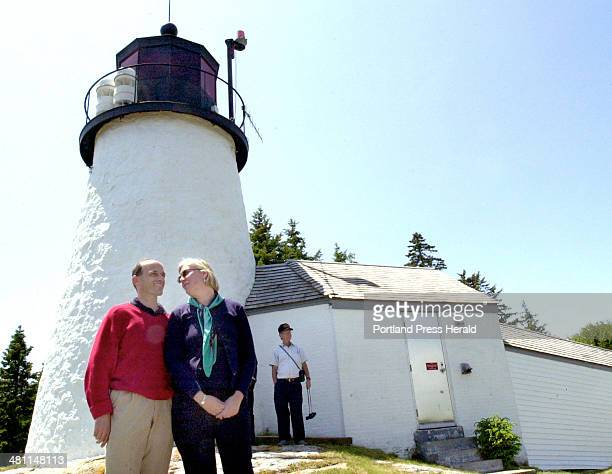 Staff Photo by John Patriquin, Friday, June 20, 2003: Maine gov. John Baldacci and his wife Karen attended a ceremony today at Burnt Island...