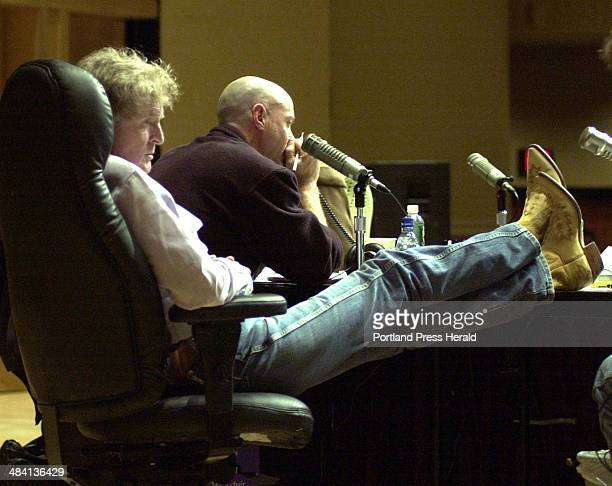 Staff Photo by John Patriquin Friday October 31 2003 National radio host Don Imus relaxes during a commercial while doing a live show at Merrill...
