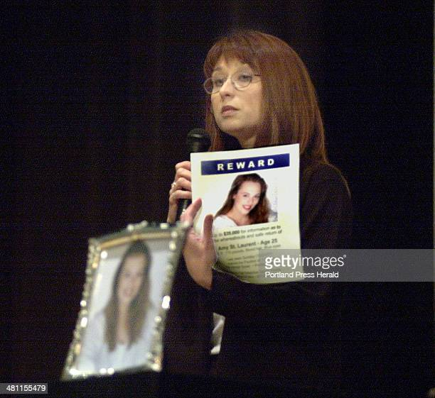 Staff Photo by John Patriquin Wed Mar 20 2002 Diane Jenkins mother of murder victim Amy St Laurent speaks to a group of students at Falmouth HS today...
