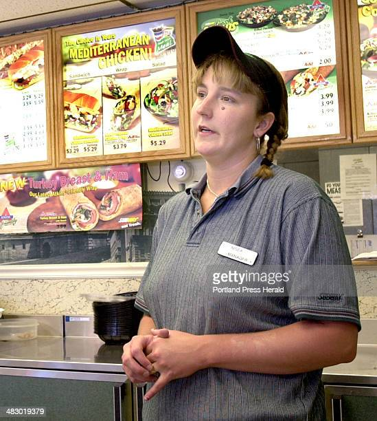 Staff Photo by John Patriquin Wednesday August 4 2004 Subway manager Nissa Spaulding talks about former business of Asia Accupressure Therapy Center...