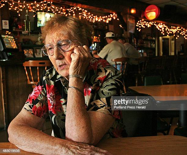 Staff Photo by Pouya Dianat Wednesday August 3 2005 Scott Hewitt's grandmother Inez Connolly seen here at her job at the Sports Inn in Caribou 'He's...