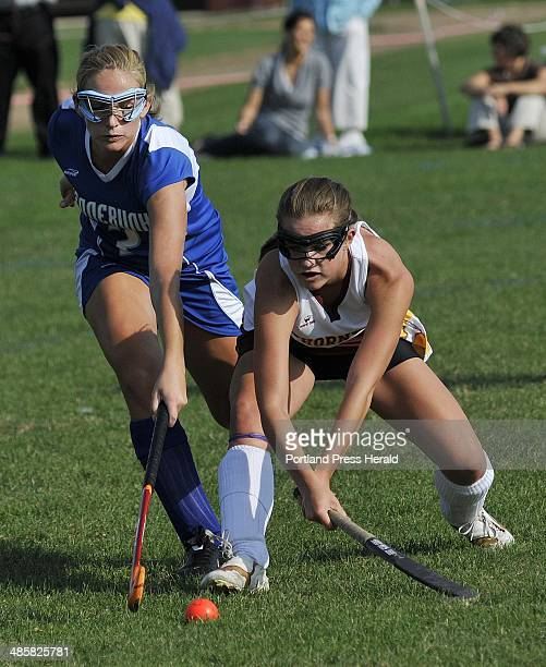 Cheyenne Knox left of Kennebunk and Thornton Academy's Nichole Moore try to control the ball Knox scored the only goal of the first half