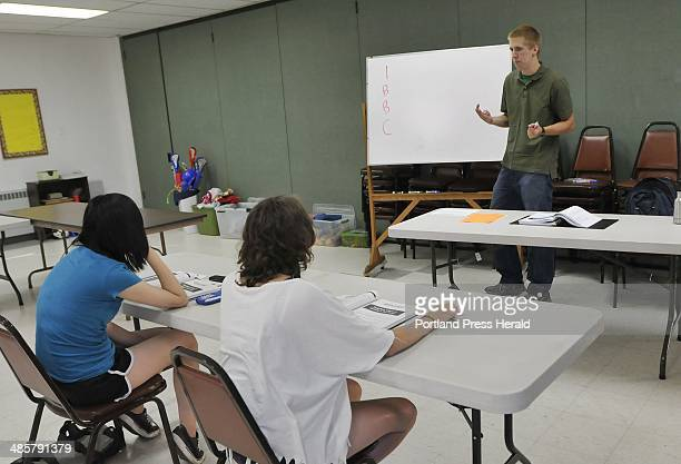Michael Jerome of Falmouth teaches an SAT prep course to students Tuesday July 2011