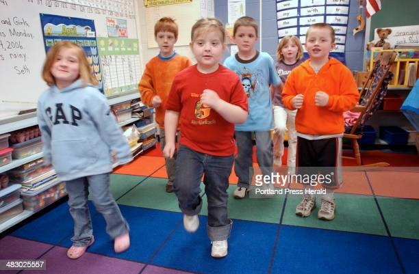 Staff Photo by Shawn Patrick Ouellette, Monday, April 24, 2006: Obesity Calais: Kindergarteners from Calais Elementary School dance during class...