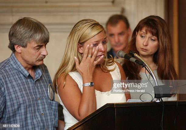 Staff Photo by Shawn Patrick Ouellette Monday June 30 2003 Amy St Laurent's sister Julie wipes away tears while speaking at the sentencing for...