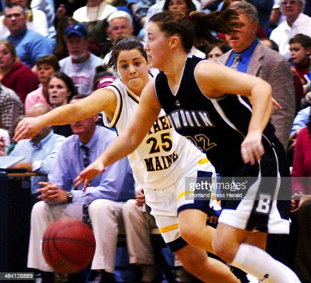 Tuesday November 29 2005 USM's Trish Sylvain moves in on defense as Bowdoin's Katie Cummings drives down court Tuesday in Gorham