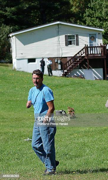 Staff Photo by Shawn Patrick Ouellette Tuesday September 27 2005 Doug Goodale of Wells walks accross his property on Tuesday as members of the ABC...