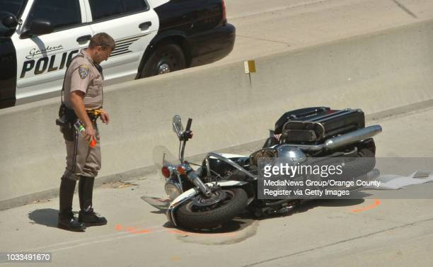 SCOTT VARLEY A Gardena motorcycle officer was injured in a hitandrun crash today on the northbound Harbor Freeway as he was searching for a robbery...
