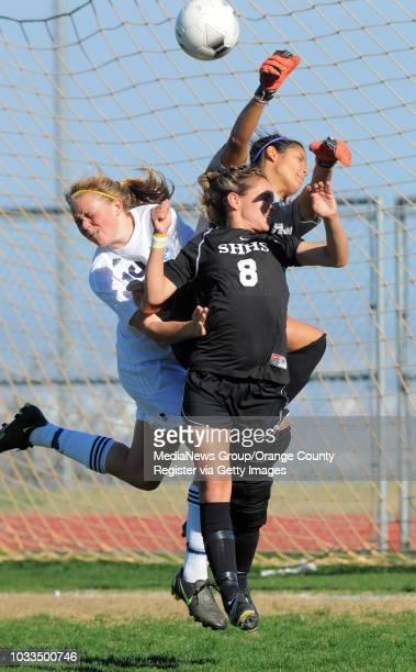 Staff Photo: SCOTT VARLEY - Chadwick girls soccer lost 1-0 to Sunny Hills in the CIF-SS Div III quarterfinals. Sunny Hills goalie Kayla Neujahr...