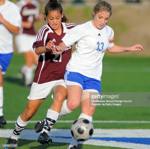 SCOTT VARLEY El Segundo girls soccer team beat Torrance 30 Torrance's Kaileia Laraba left and Courtney Hobbs chase down a ball