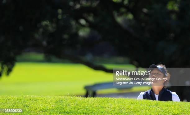 SCOTT VARLEY Final round of the Northrop Gruman Regional Challenge NCAA golf tournament at the Palos Verdes Golf Club UCLA's Tiffany Joh wathces her...