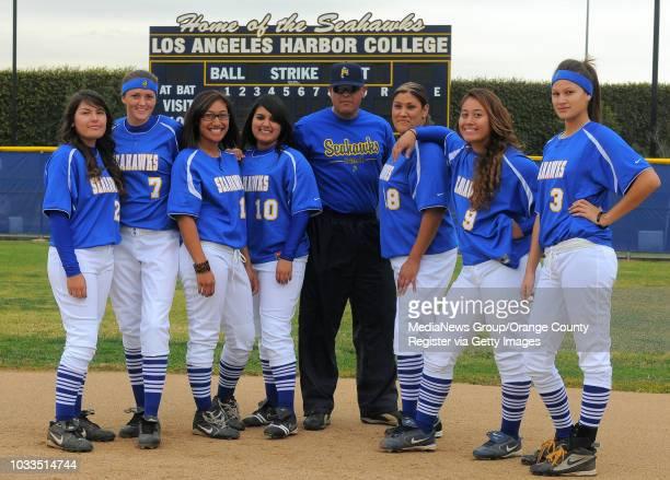 SCOTT VARLEY Harbor College is fielding it's first softball team in the school's history this year LR Heather Ward Nikki Uranga Dovie Tuli Liz Torrez...