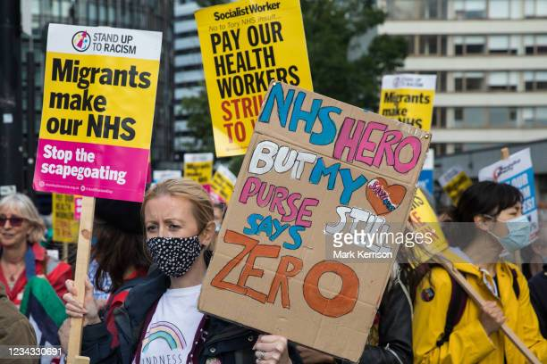 Staff prepare to march from St Thomas' Hospital to Downing Street to protest against the NHS Pay Review Body's recommendation of a 3% pay rise for...