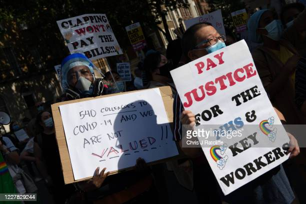 Staff protest outside Downing Street as they demand a pay rise on July 29, 2020 in London, England. Almost 900,000 public sector workers are set to...