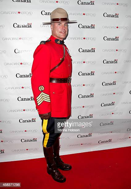 Staff Sergeant Darren L Simons of the Royal Canadian Mounted Police attends the Canada Day Celebration 2016 at Wokano Restaurant on July 1 2016 in...
