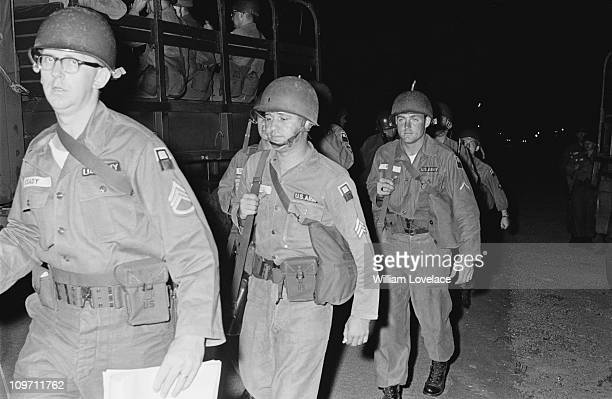 Staff Sergeant Keady of the US Army is amongst the soldiers deployed during the race riot in Rochester New York State late July 1964