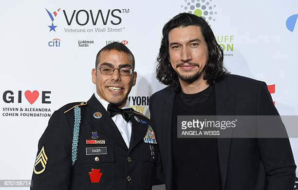 Staff Sergeant Michael Kacer and actor Adam Driver attend the 10th Annual 'Stand Up For Heroes' event presented by the New York Comedy Festival and...