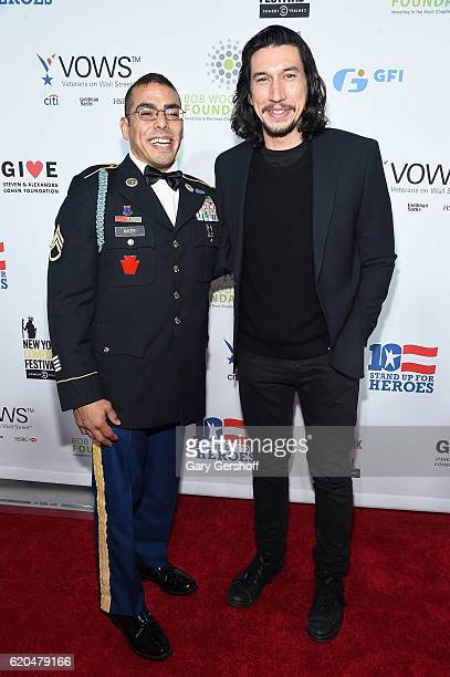 Staff Sergeant Michael Kacer and actor Adam Driver attend the 10th Annual Stand Up For Heroes benefit show at The Theater at Madison Square Garden on...