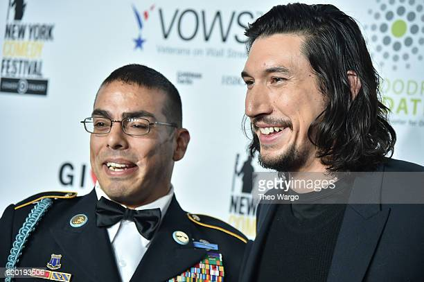 Staff Sergeant US Army Michael Kacer and actor Adam Driver attend 10th Annual Stand Up For Heroes at The Theater at Madison Square Garden on November...