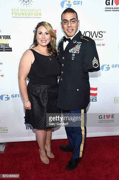 Staff Sergeant US Army Michael Kacer and Jessica Schulman at The Theater at Madison Square Garden on November 1 2016 in New York City