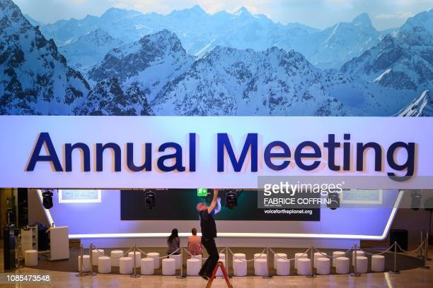 Staff set the light in the congress centre ahead of the opening of the 2019 World Economic Forum annual meeting on January 20 2019 in Davos eastern...