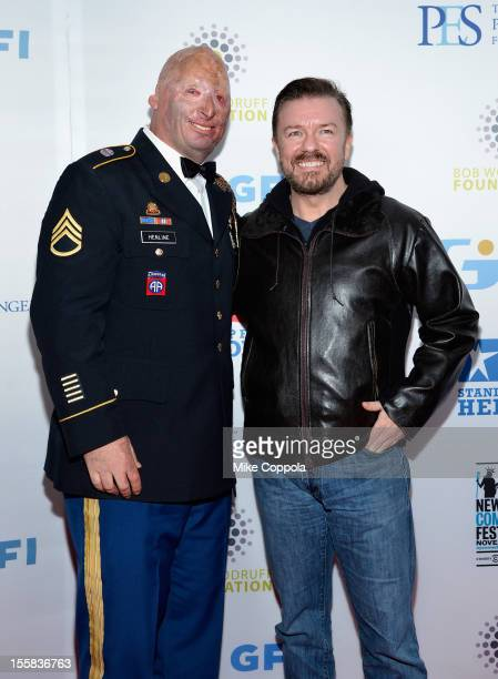 Staff Sgt. Robert Henline and Actor/Comedian Ricky Gervais attends the 6th Annual Stand Up For Heroes at the Beacon Theatre on November 8, 2012 in...