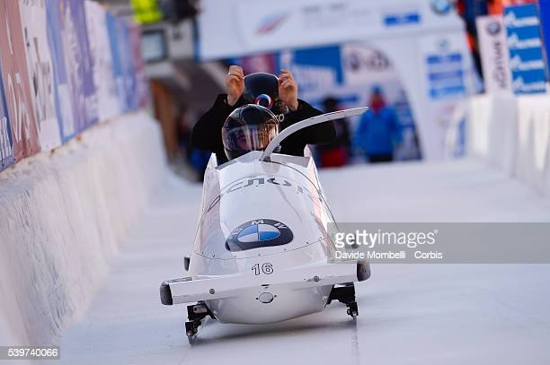 staff test in action during the start BMW IBSF World Cup Bob 2 women 2015/2016 St Moritz Swiss