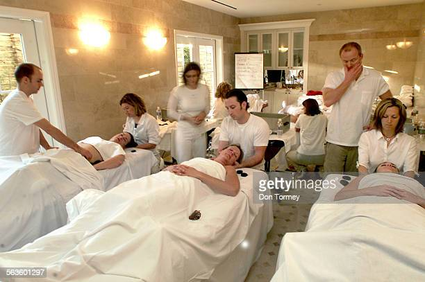 Staff train in the art of massage at The Montage Resort a blufftop hotel and spa with a sweeping view of the Pacific Ocean in Laguna Beach Opening to...
