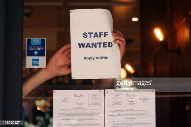 Staff wanted sign in the window of a restaurant in the Soho district of London, U.K., on Tuesday, Sept. 7, 2021. The head of the U.K.s biggest...