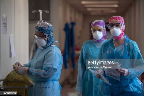 Staff wear protective equipment in the Diaconat Roosevelt clinic in Mulhouse, which has a special ward for coronavirus patients. Of their 57 beds, 50...
