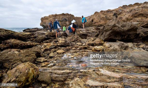 Staff with OC Habitats lead a tide pool hike at the Crystal Cove State Marine Conservation Area near Corona del Mar, CA on Saturday, April 17, 2021....