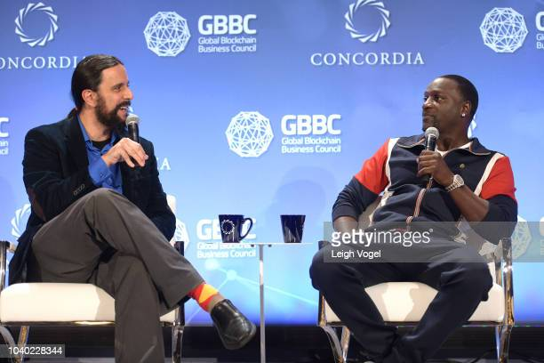 Staff writer at Forbes Michael del Castillo and Recording artist Akon speak onstage during the 2018 Concordia Annual Summit Day 2 at Grand Hyatt New...