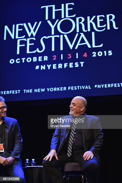 Staff writer for The New Yorker Nick Paumgarten and musician Billy Joel speak onstage at the New Yorker Festival 2015 - Billy Joel Talks With Nick...