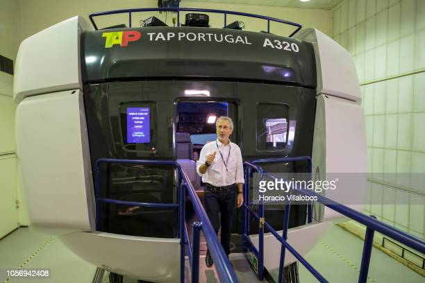 A staffer leaves TAP A320 medium range flight simulator at the end of a training session in TAP Air Portugal training center in Lisbon International...