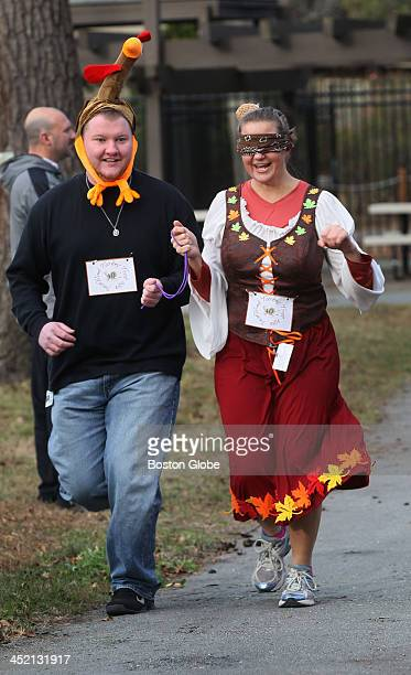 Staffers at the Perkins School for the Blind in Watertown participate in a Turkey Trot race Kristin Carlson education coordinator for deaf blind...