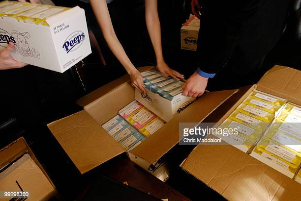 Staffers in Rep Jeff Flake's office unload packages of Marshmallow Peep candies to be delivered to every Hill office on Tuesday April 25 as...