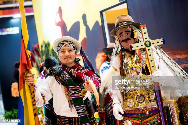 Staffs wearing a traditional clothing from Costa Rica at FITUR International Tourism Fair 2018 at Ifema on January 17 2018 in Madrid Spain Prime...