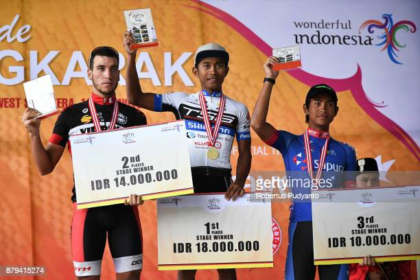 Stage 9 winners silver medalist Soufiane Sahbaoui of VIB Bikes Bahrain gold medalist Mohd Shahrul Mat Amin of TSG Terengganu Cycling Team Malaysia...